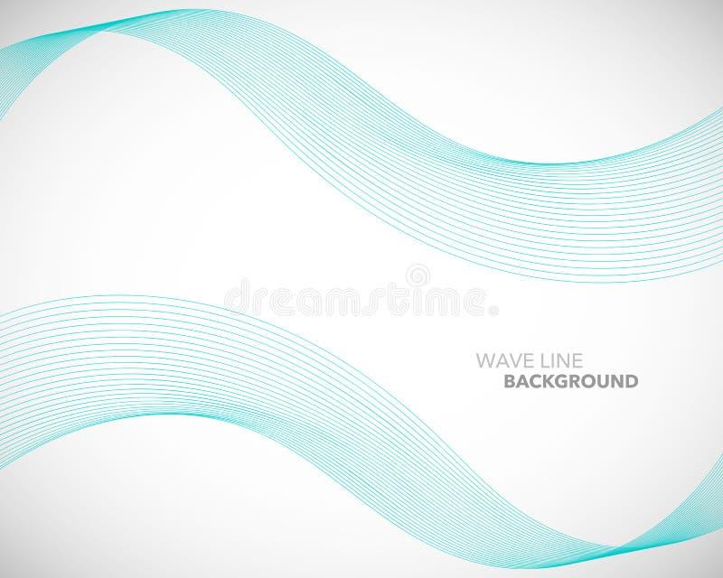 一条典雅的抽象传染媒介波浪线未来派样式背景模板 库存例证