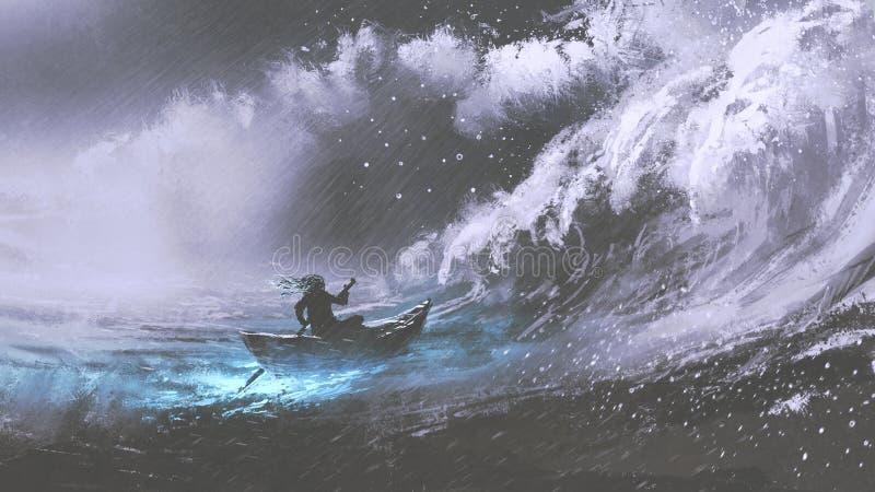 一条小船的人在风雨如磐的海 向量例证