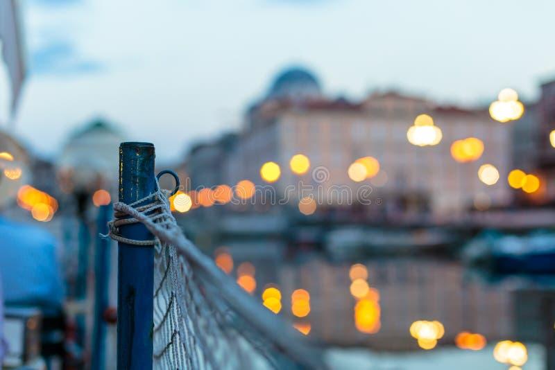 从一条小船的日落在的里雅斯特 库存图片