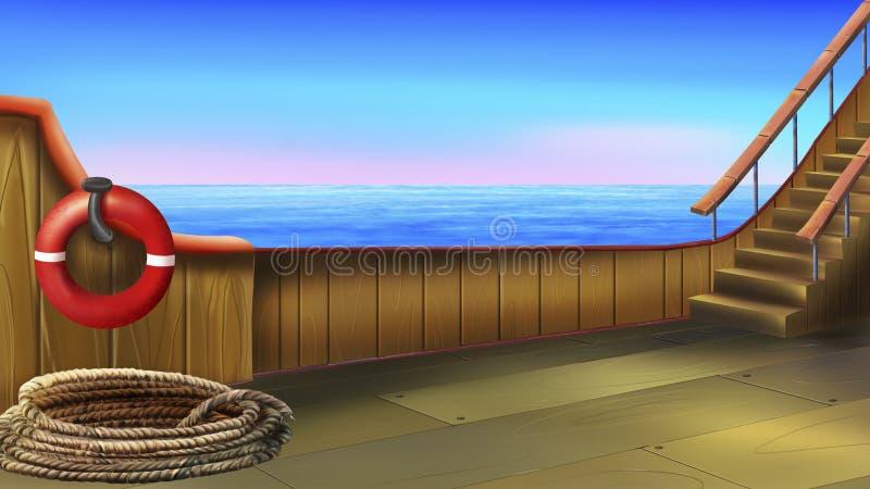 一条小船的甲板 库存例证