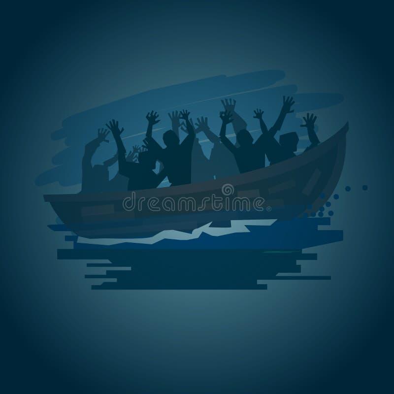 一条小船的难民在shilluate的风雨如磐的海称呼,移动向 向量例证