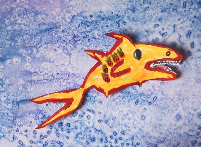 一条小鱼的纸保险开关 免版税库存图片