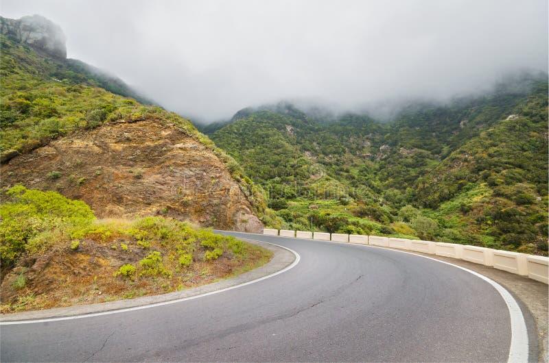 一条山路的风景看法在Anaga自然公园在特内里费岛,加那利群岛,西班牙 免版税库存照片