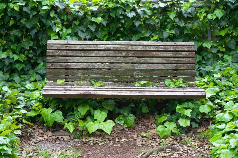 一条年迈的肮脏的长凳在东京 库存图片