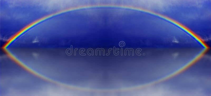 一条彩虹的一个图表例证与水反射的 库存图片