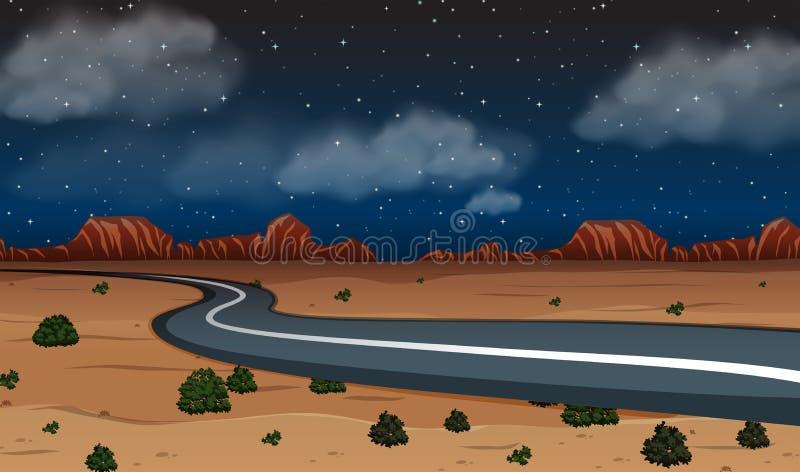 一条沙漠路在晚上 皇族释放例证
