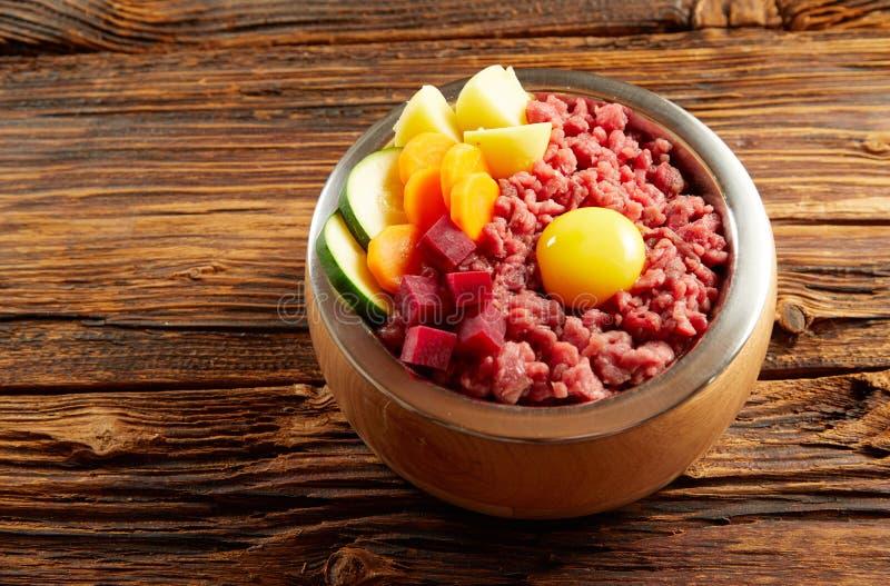 一条狗的鲜美晚餐用肉和菜 免版税库存照片