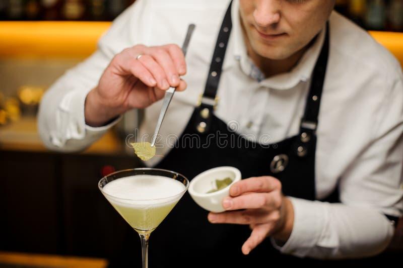 一条白色衬衣和围裙的侍酒者装饰与桦树叶子的一个鸡尾酒 免版税库存图片