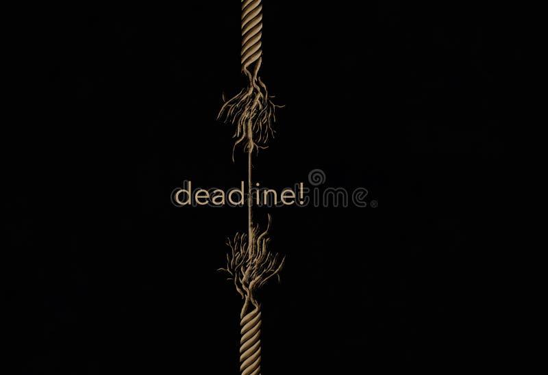 一条磨损的绳索将打破,并且词最后期限在关于消失在灾害前的时间的这个例证包括 向量例证