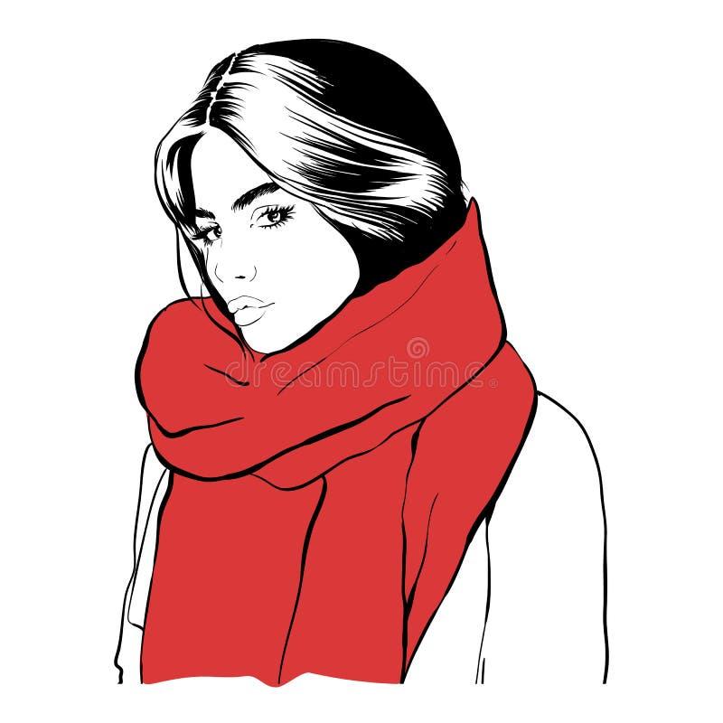 一条红色围巾的美丽的年轻女人 手拉的时髦的妇女p 免版税库存照片