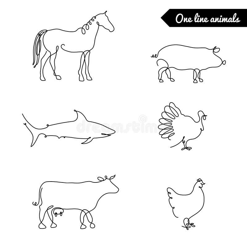 一条线动物设置了,商标传染媒介与马的股票例证,猪、火鸡、母牛、鸡,鲨鱼和其他 向量例证