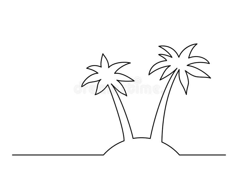 实线棕榈树图画在白色背景的 也corel凹道例证向量 id.图片