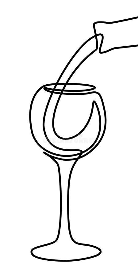 一条线液体涌入从瓶的一块玻璃 实线葡萄酒杯 ?? 库存例证