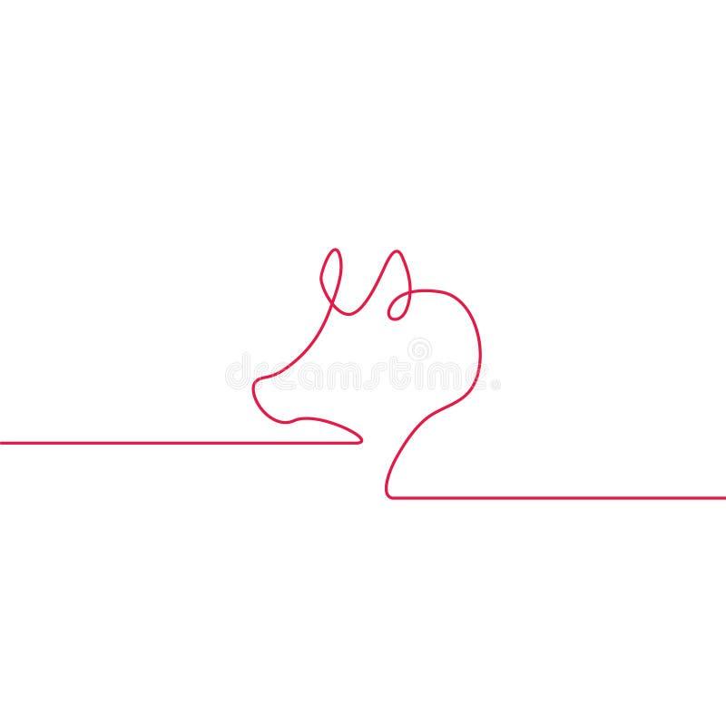 一条线猪设计剪影  Minimalistic样式传染媒介例证 平的样式 向量例证