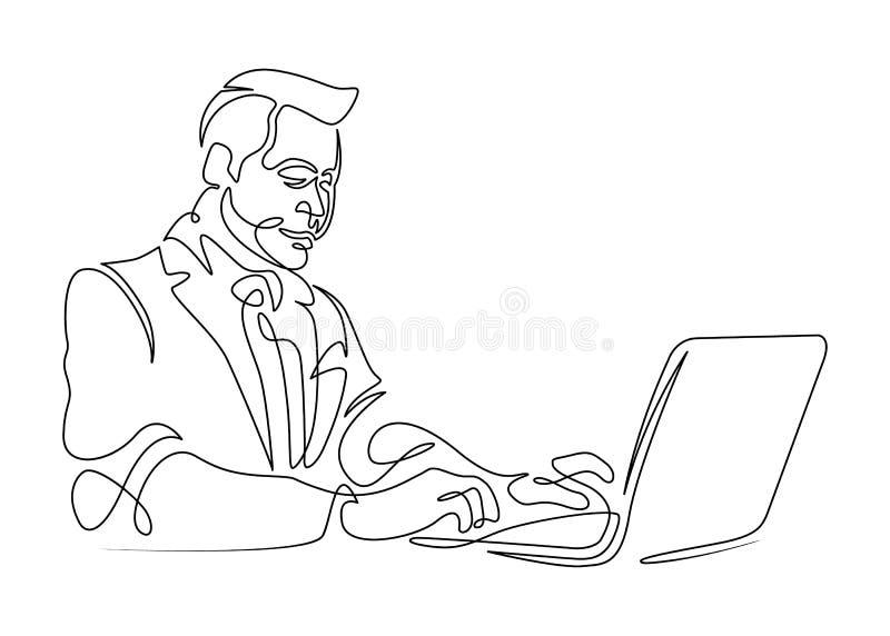 一条线膝上型计算机行家 皇族释放例证
