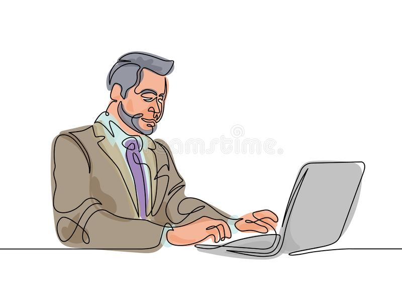 一条线膝上型计算机行家 向量例证