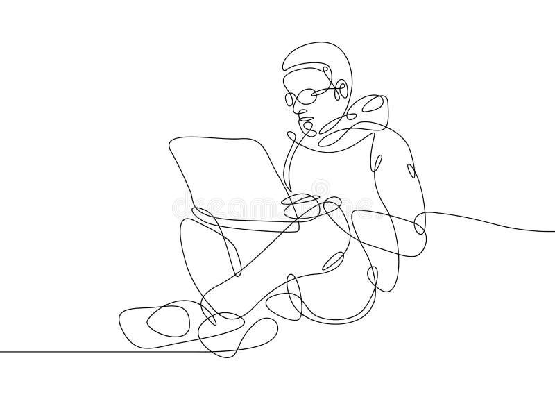 一条线行家膝上型计算机 皇族释放例证