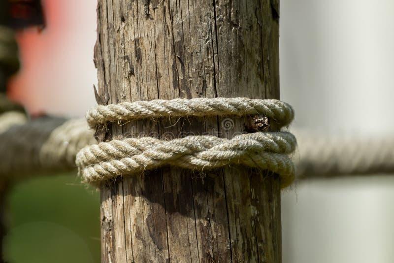 一条绳索和一个结在一块木头 免版税图库摄影