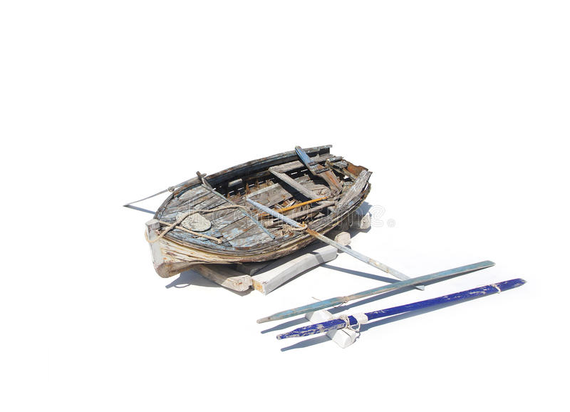 一条老和损坏的小船的特写镜头图象 免版税库存图片