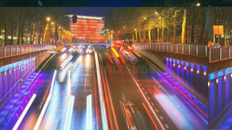 一条街市街道的长的曝光射击在日落的 背景的摩天大楼与红灯 比利时布鲁塞尔 免版税库存图片