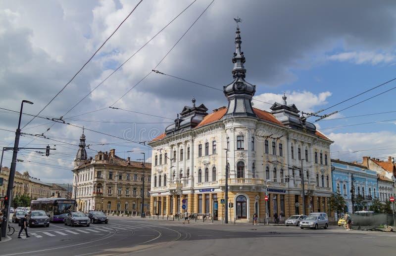 一条街道在科鲁Napoca,罗马尼亚 免版税库存照片
