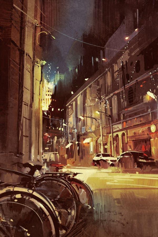一条街道的夜场面在有五颜六色的光的城市 向量例证