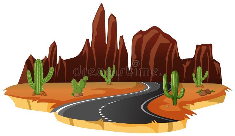 一条被隔绝的沙漠路 向量例证
