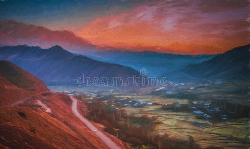 一条路的绘画通过Alamut 图库摄影