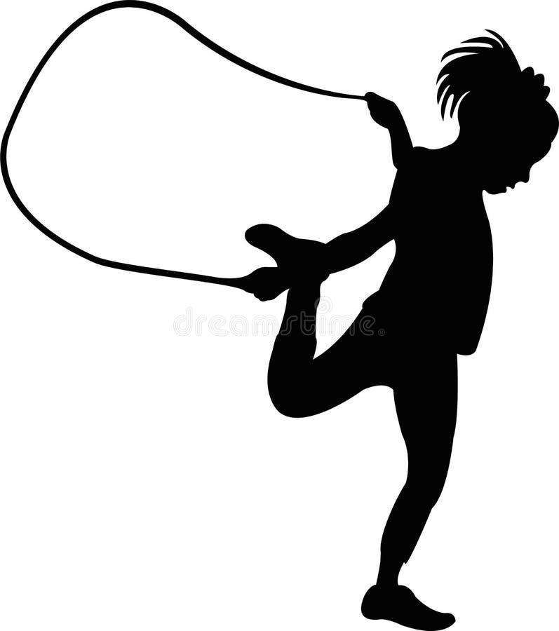 一条逗人喜爱的女孩跳绳,身体剪影传染媒介 皇族释放例证