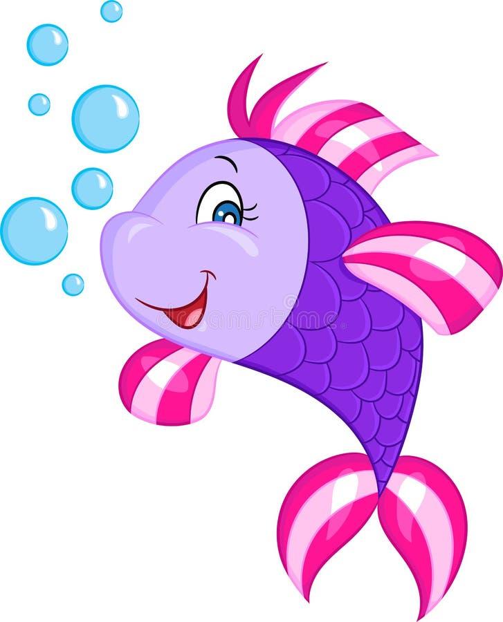 一条逗人喜爱的矮小的紫色鱼的彩色插图,微笑,与泡影,为儿童图书完善 向量例证