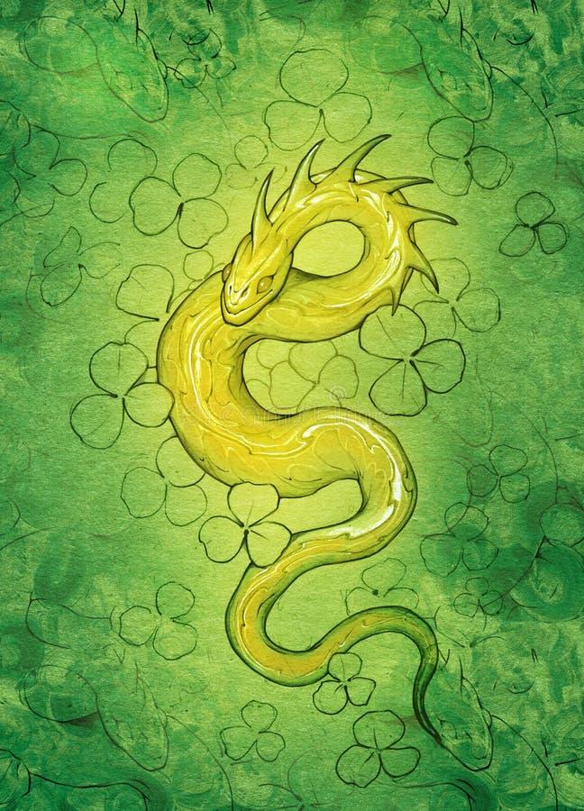 一条金黄龙蛇的幻想符号例证 向量例证