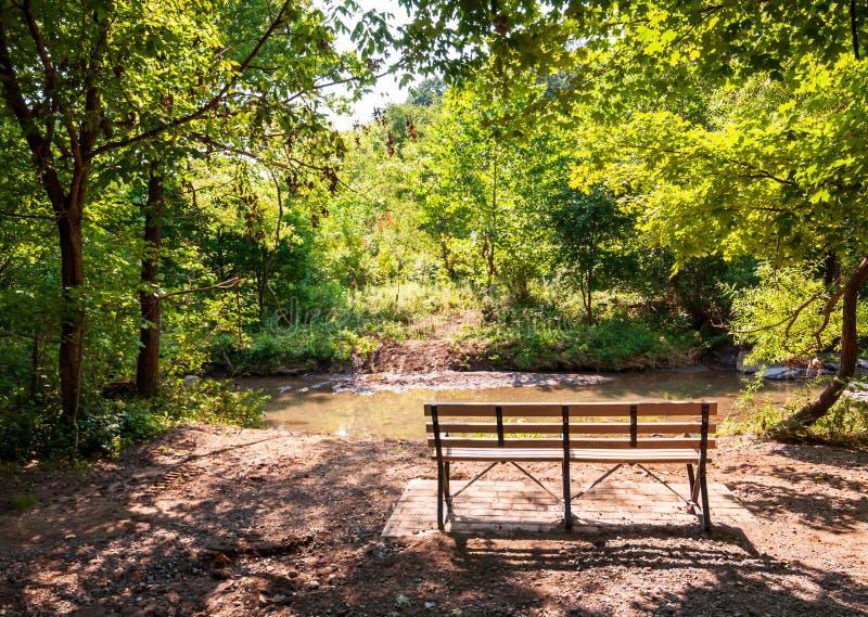 一条长凳在九英里奔跑旁边的一个晴朗的区域,流经弗利克公园的小河,匹兹堡,宾夕法尼亚,美国 库存图片