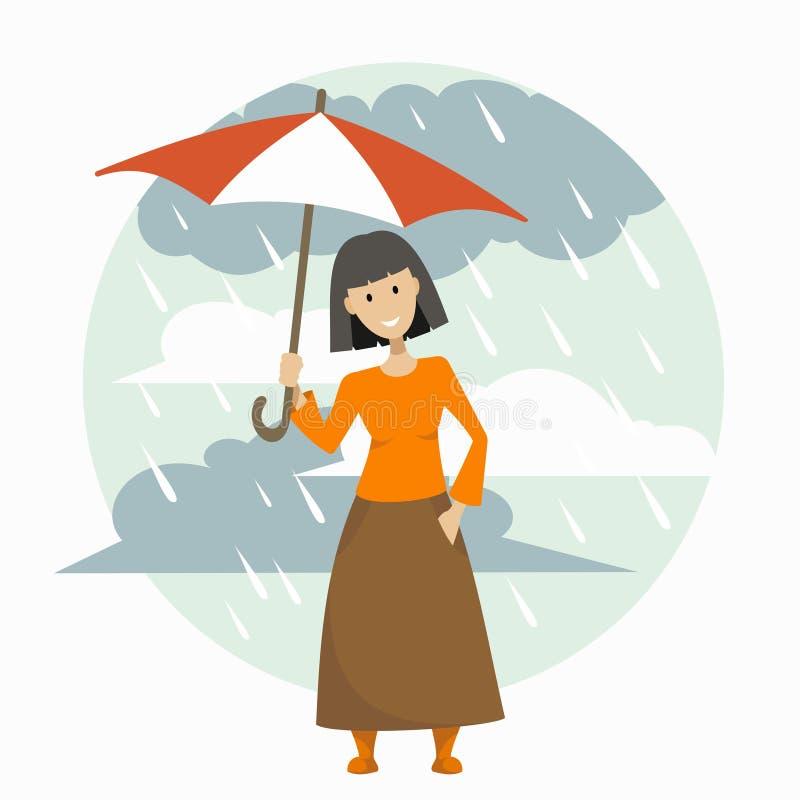 一条长的裙子的女孩有伞的 皇族释放例证