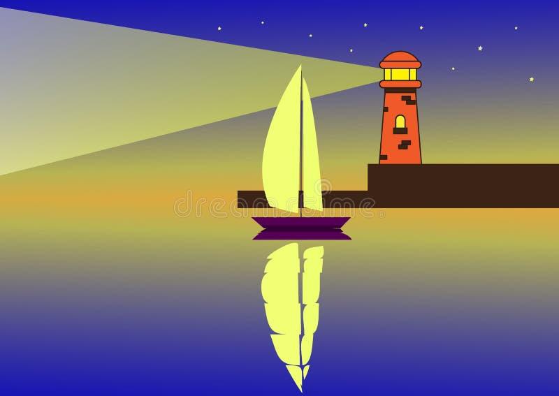 一条风船在根据灯塔的晚上 库存例证