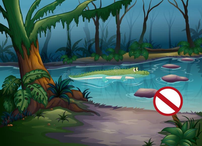 一条鳄鱼在密林 向量例证