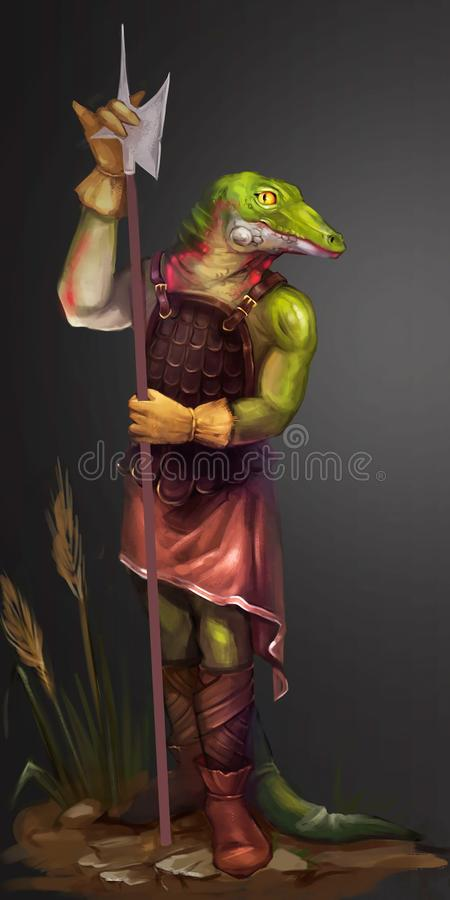 一条鳄鱼的例证与矛的 皇族释放例证
