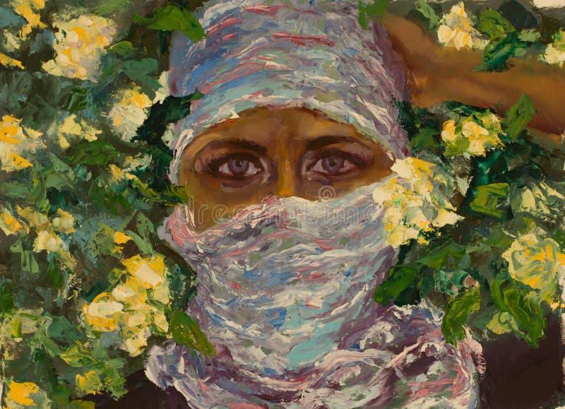 一条围巾的顶头女孩在春天颜色背景  美丽的眼睛 库存例证