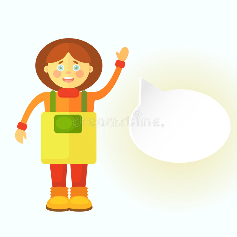 一条黄色围裙的一个平的花匠女孩招呼您 显示对话的一朵云彩 您能留下您的文本那里 皇族释放例证