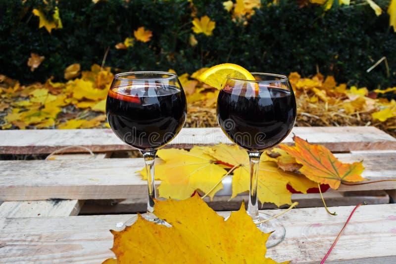 一杯加香料的热葡萄酒在冷的秋天,在一条长凳的一个公园,反对黄色和红色叶子背景  免版税图库摄影