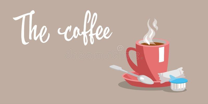 一杯咖啡在一个茶碟的有匙子的 向量 库存例证