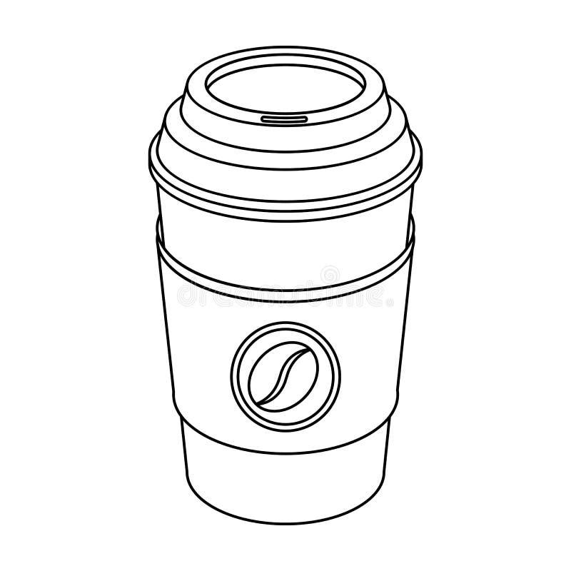 一杯咖啡对饭菜外卖点的 咖啡的不同的类型选拔在概述样式传染媒介标志股票例证网的象 向量例证