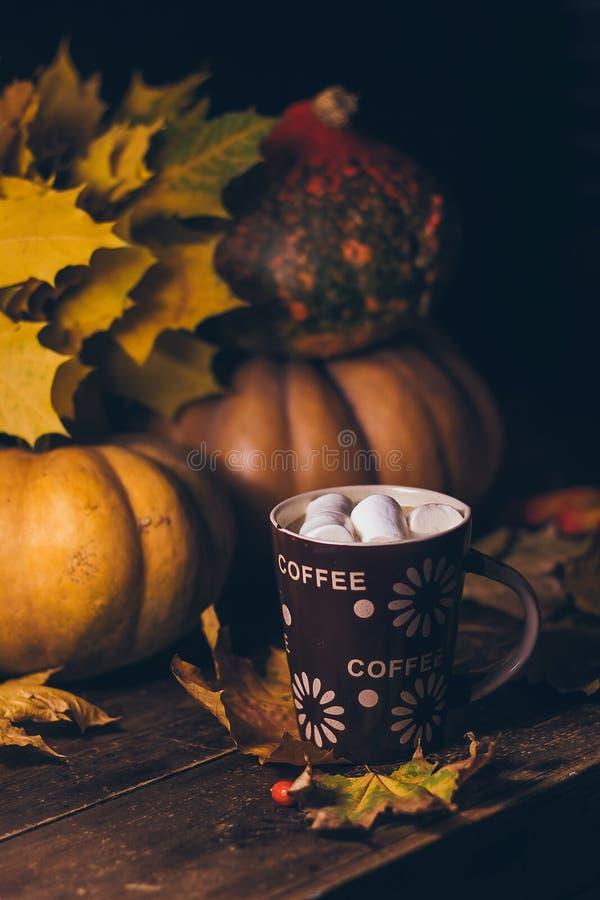 一杯咖啡用在木桌上的蛋白软糖与明亮的秋天黄色离开和成熟五颜六色的南瓜 免版税库存图片