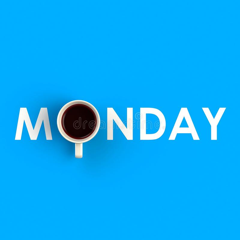 一杯咖啡的顶视图以星期一的形式在蓝色背景,咖啡概念例证隔绝了 图库摄影