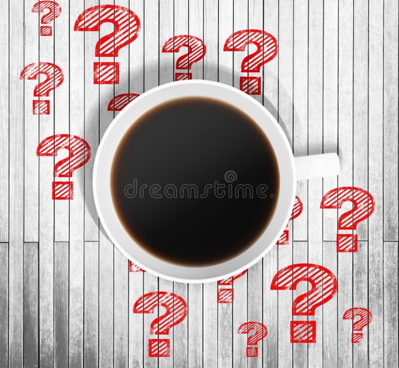 一杯咖啡的顶视图和红色得出的问号在它附近在木桌上 向量例证