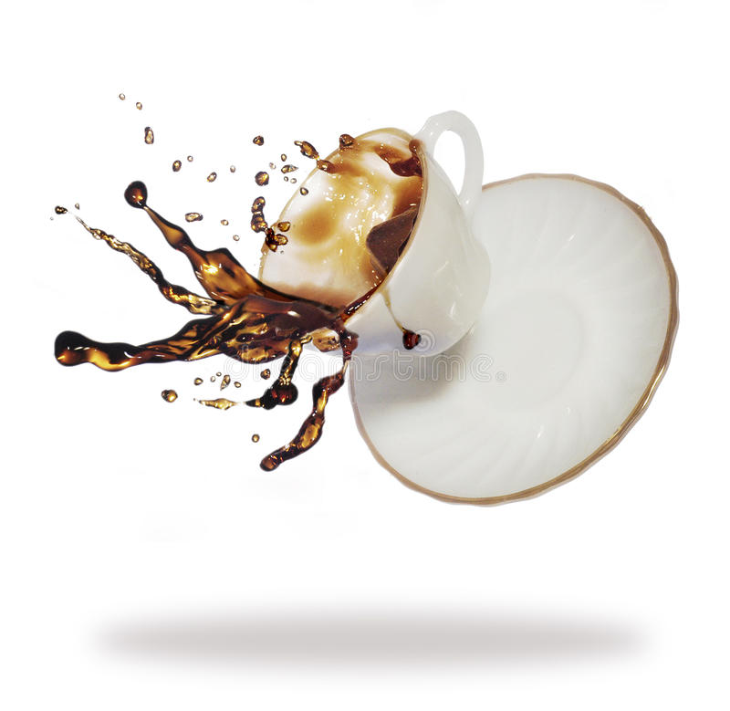 咖啡飞溅 免版税库存照片