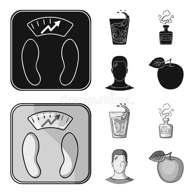一杯水,一个瓶酒精,一个冒汗的人,苹果 在黑,单色样式的Diabeth集合汇集象 库存例证