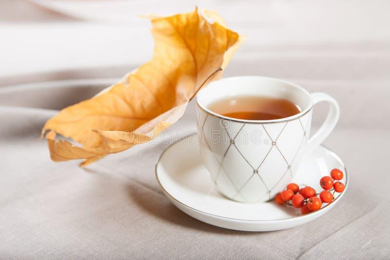 一杯茶与槭树落的秋叶的和一束花揪 免版税库存照片