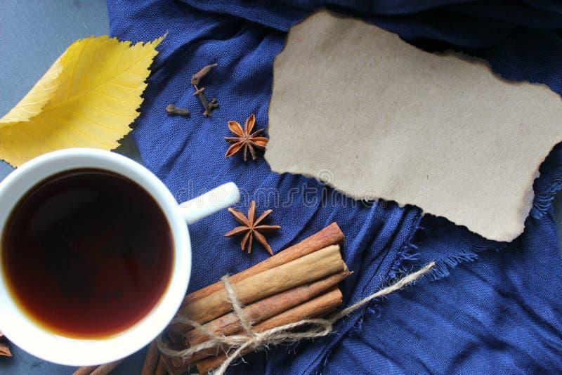 一杯茶在一条蓝色围巾、香料茴香和桂香,黄色秋天叶子的 库存图片