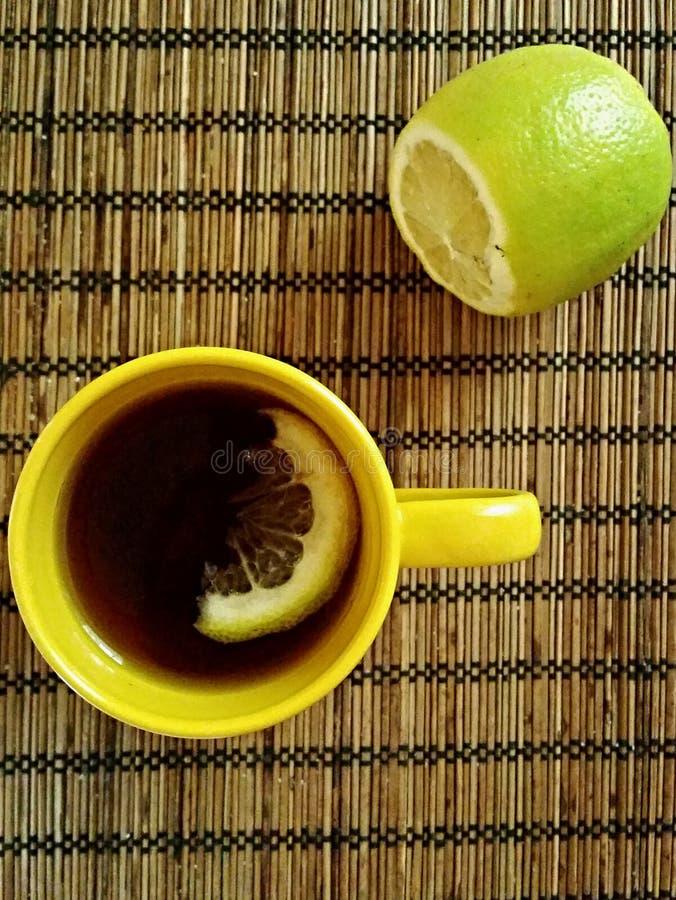 一杯茶用柠檬 库存照片