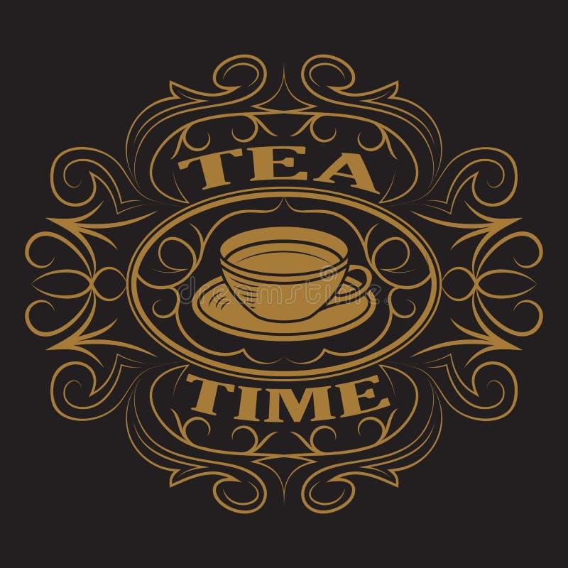 一杯茶,商标 皇族释放例证